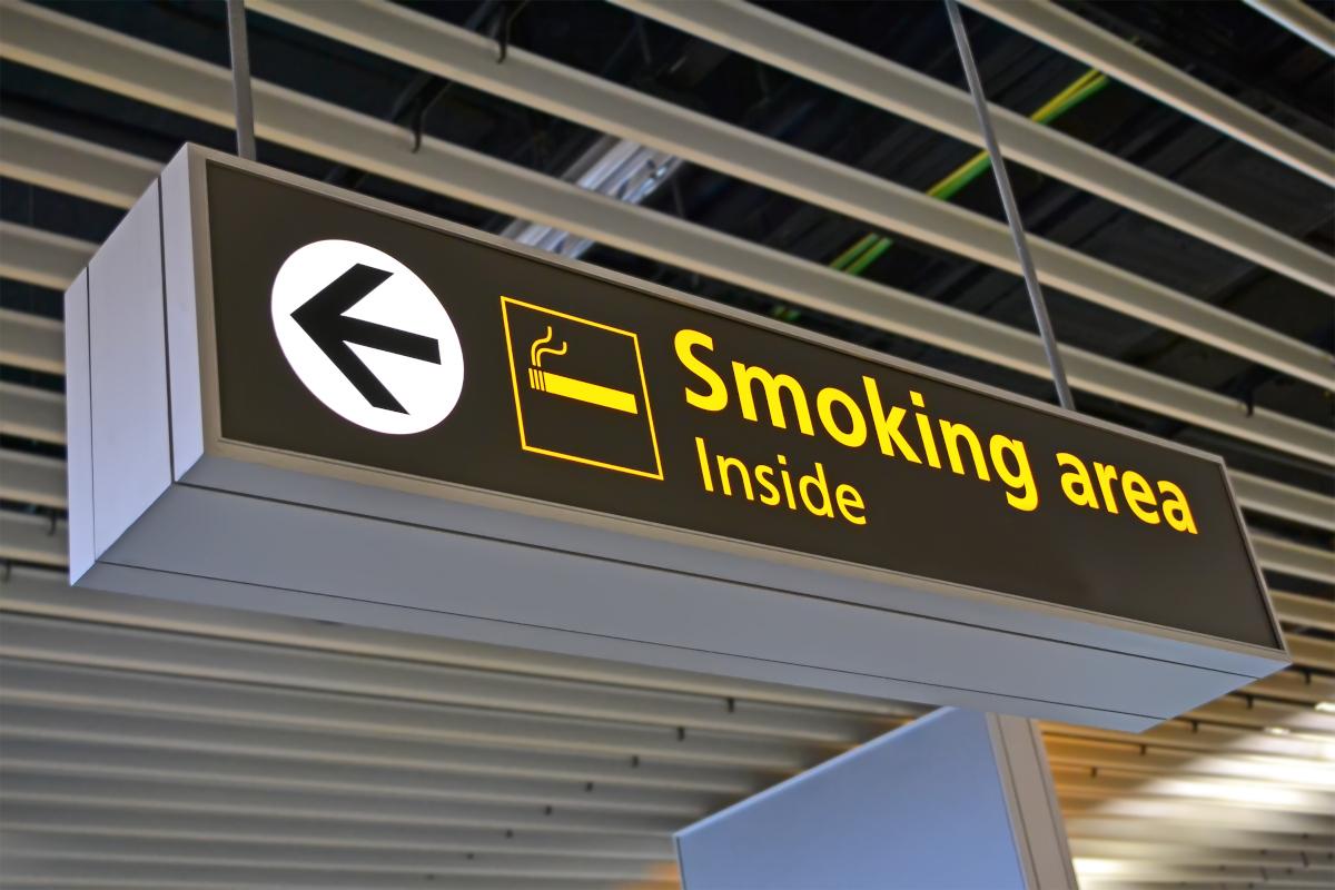 smoking place sign, big airport bigboard