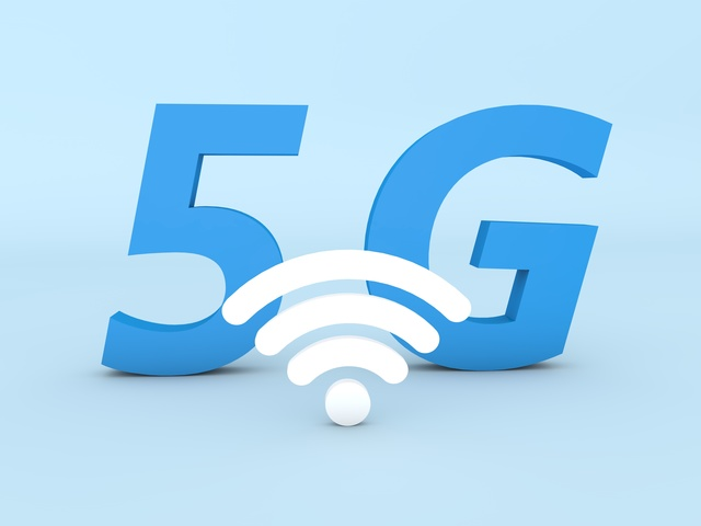 5G wifi sign on a blue background. 3d rendering illustration.